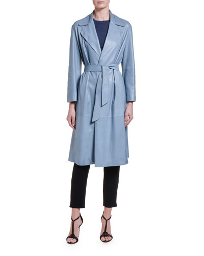 Goat Leather Belted Trench Coat