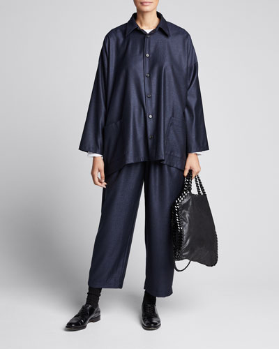 Wool-Silk Wide A-Line Jacket  Navy