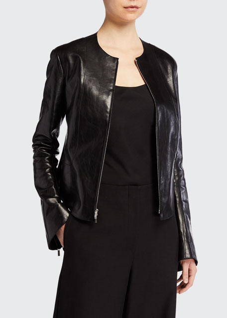 Saori Bell-Sleeve Leather Moto Jacket