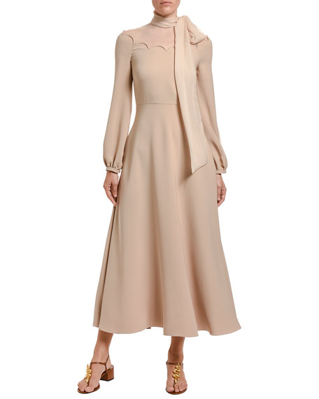 Image 1 of 1: Cady Couture Tie-Neck Long-Sleeve Dress