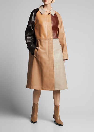Patchwork Leather Trench Coat