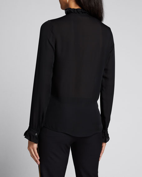 Orin Silk Frilled-Collar Shirt