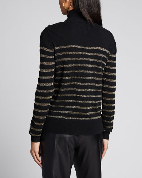 Spruce Cashmere Striped Turtleneck Sweater