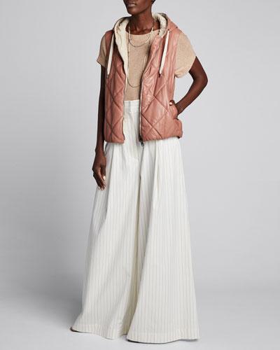 Linen-Silk Sequined Cap-Sleeve Sweater