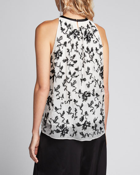 Floral Beaded Sleeveless Silk Top