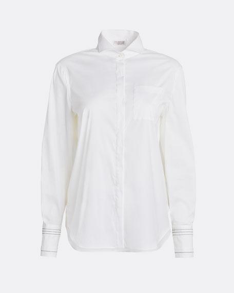Monili-Striped Cuff Poplin Shirt