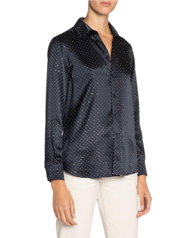 Saint Laurent Shirts Studded Satin Shirt