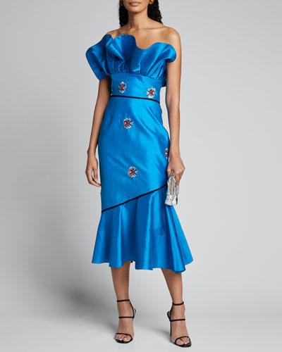 Asymmetrical Strapless Ruffle Midi Dress w/ Floral Details