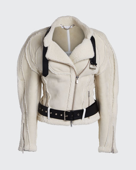 Car-Seat Shearling Biker Jacket