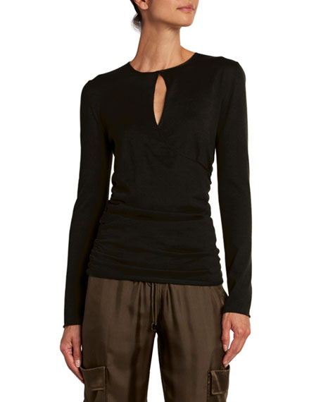 Image 1 of 1: Fine Cashmere-Silk Wrapped Keyhole Top