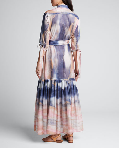 Mouassine Sheer Tie-Dye Dress