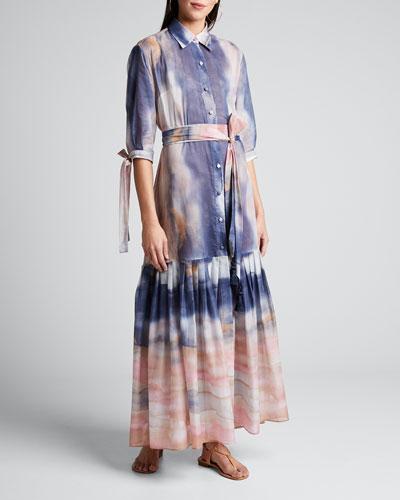 Mouassine Sheer Tie-Dye Dress
