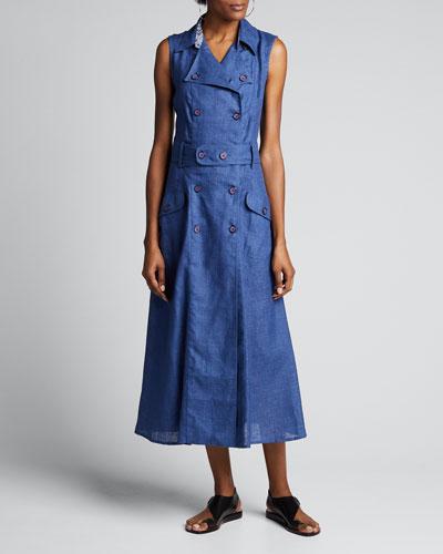 Sahara Linen Sleeveless Trench Dress
