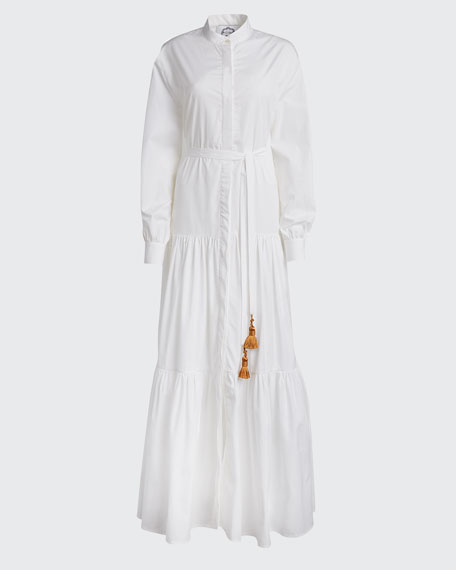 Beldi Tassel-Belt Tiered Shirtdress