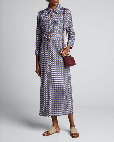 Riad Zigzag-Linen Shirtdress
