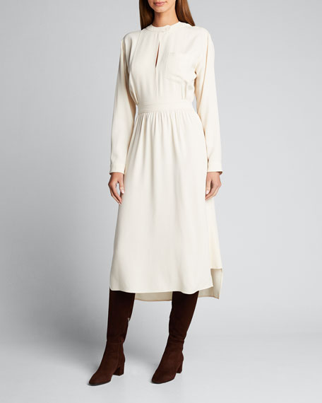 Crepe Tab-Neck A-Line Dress