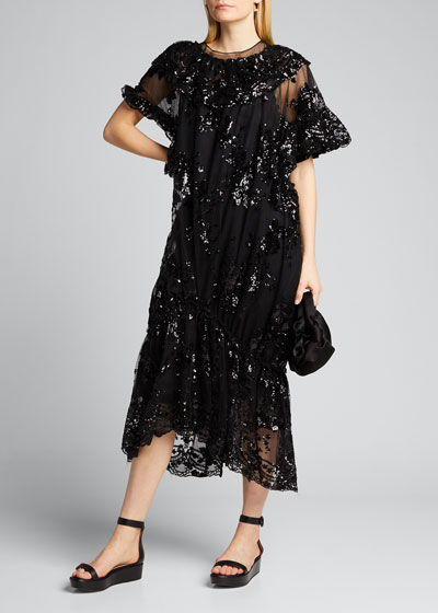 Tulle Crewneck Ruffle Hem Dress