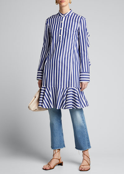 Ruffle-Back Striped Poplin Shift Dress