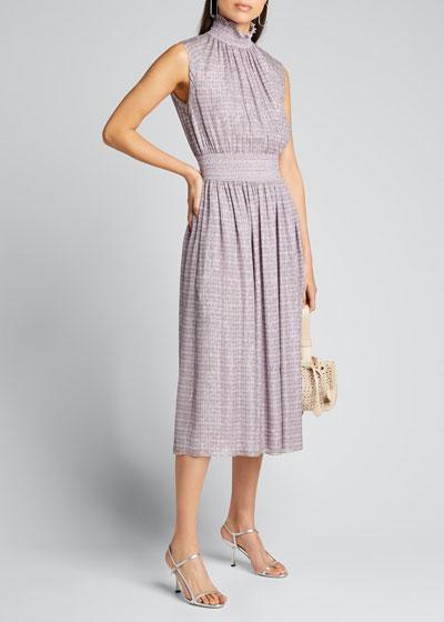 Chiffon Sleeveless Smocked-Waist Dress