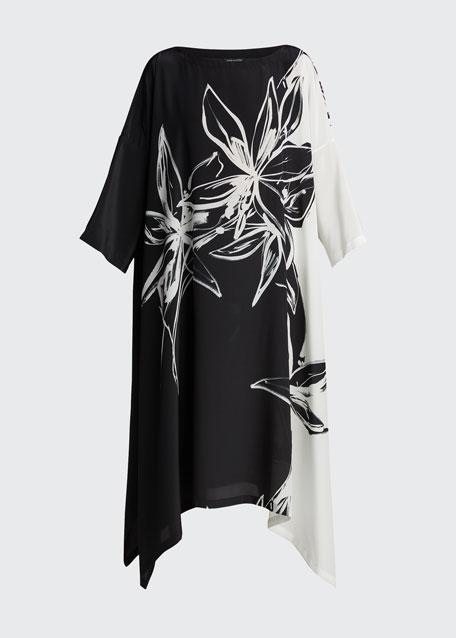 Floral-Print Silk Tunic Dress