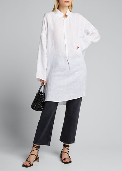 Slope-Shoulder Wide A-Line Smock Shirt