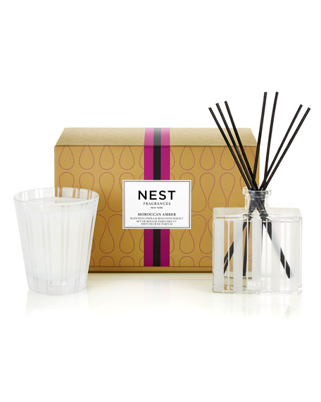 Image 1 of 1: Classic Candle & Reed Diffuser Set - Moroccan Amber ($82 Value)