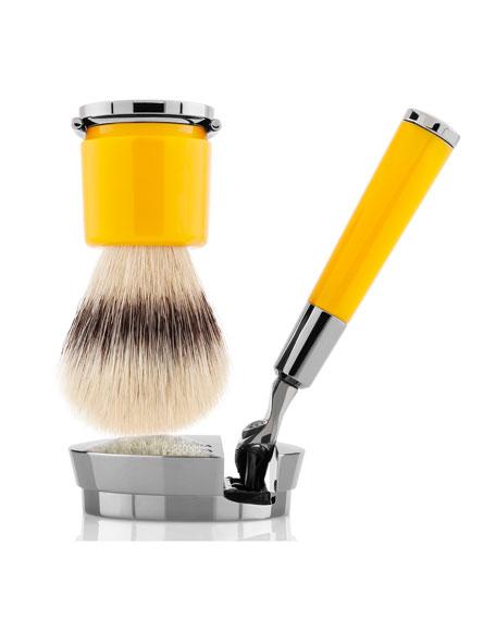 Barbiere Yellow Razor and Brush