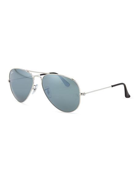 Original Aviator Sunglasses, Silver Mirror