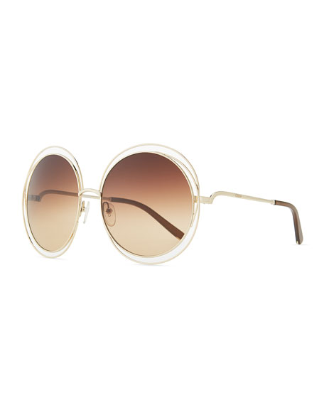 Marchon Eyewear Carlina Round Wire-Frame Sunglasses, Rose Gold