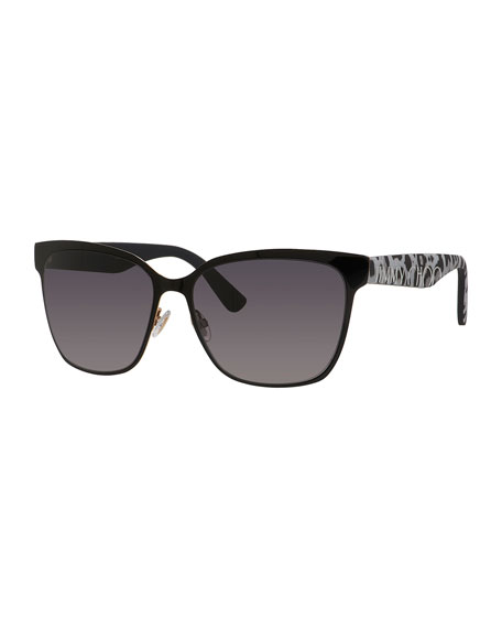 Jimmy Choo Kiera Mirror Logo-Temple Sunglasses, Black