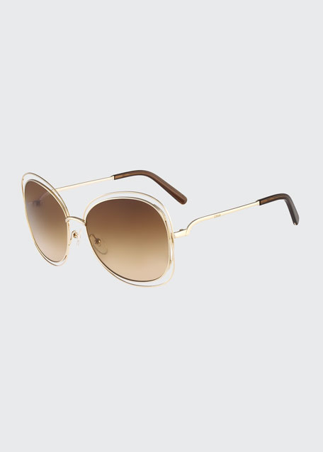 Carlina Butterfly-Frame Sunglasses, Rose Golden