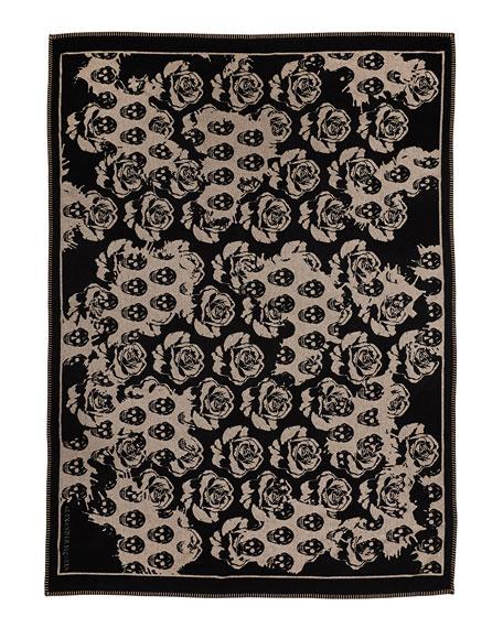 Roses & Skull Knit Blanket