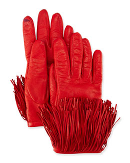 Leather Gloves with Fringe Trim
