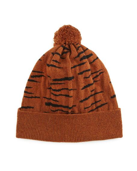 Rosie Sugden Cashmere Tiger-Stripe Beanie Hat ca19ae5a7561