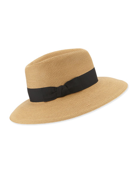 Image 1 of 1: Phoenix Woven Boater Hat, Natural/Black