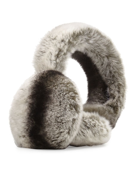 Image 1 of 1: Rabbit Fur Earmuffs, Chinchilla