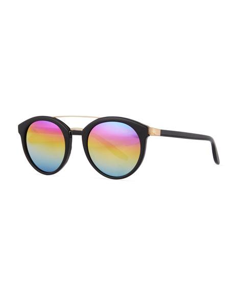 Dalziel Round Iridescent Sunglasses, Black/Gold Rainbow