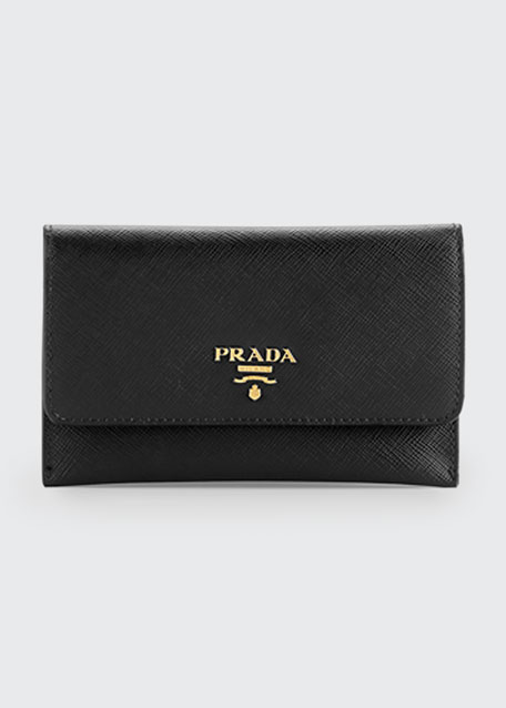 6169d49845b5c3 Prada Saffiano Wallet/Card Case, Black (Nero)