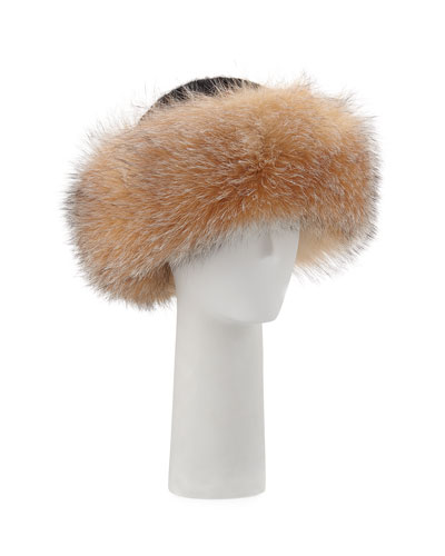Knit Hat w/ Fox Fur Cuff