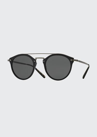 Remick Monochromatic Brow-Bar Sunglasses  Black