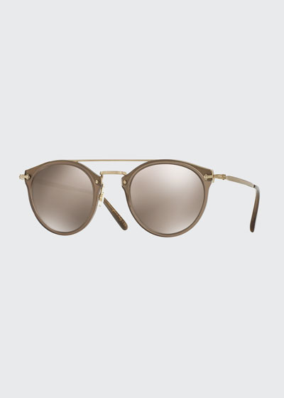 Remick Mirrored Brow-Bar Sunglasses  Taupe