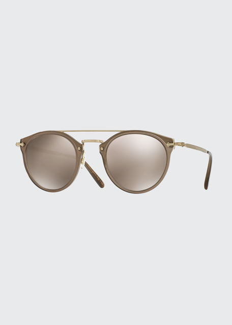 Remick Mirrored Brow-Bar Sunglasses, Taupe