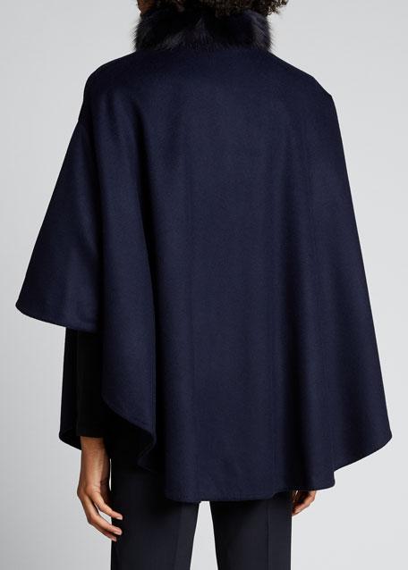 Cashmere Fur-Trim Cape