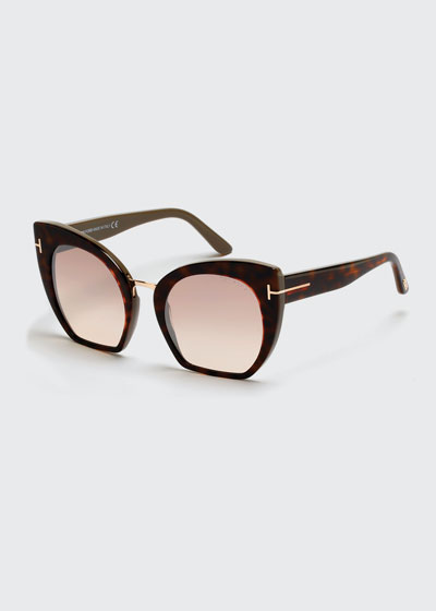 Samantha Cropped Cat-Eye Sunglasses  Brown/Havana