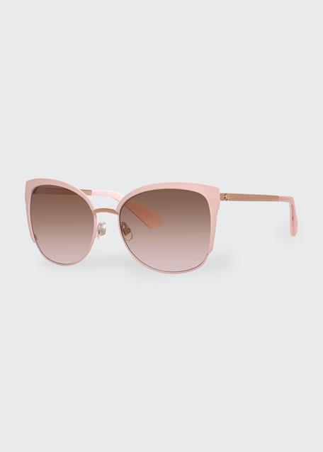 genice square oversize half-rim sunglasses