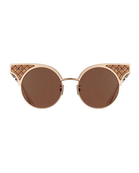 Round Metal Intrecciato Sunglasses
