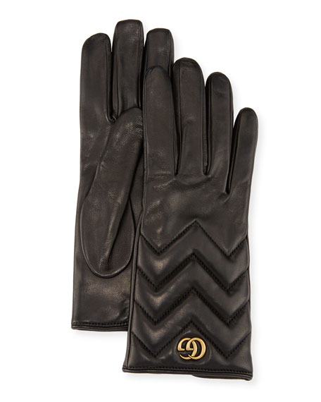 Image 1 of 1: GG Marmont Chevron Leather Gloves, Black