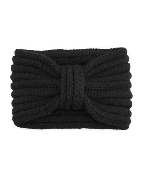 Hand-Knit Cashmere Ear Warmer, Black