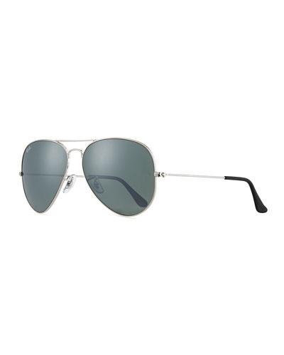 Cry Mirrored Aviator Sunglasses  Silver