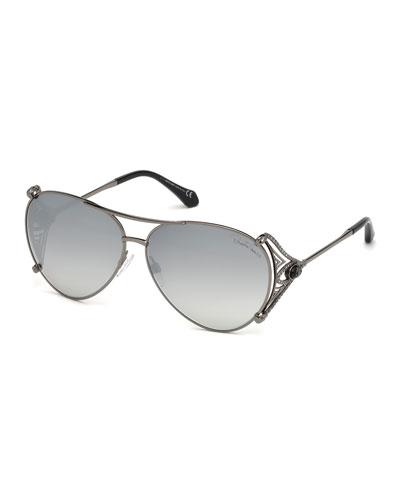 Metal Aviator Sunglasses  Black